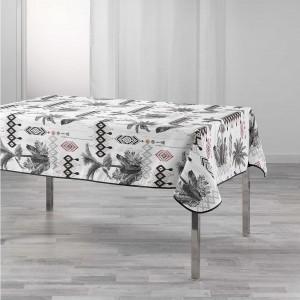 Štýlový biely obrus na stôl s motívom paliem 150x 240 cm