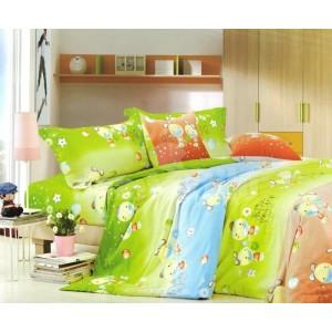 Zelená obliečka na detskú posteľ so zvieratkami