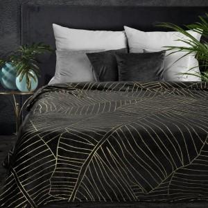 Luxusná hrejivá čierna deka s motívom zlatých banánových listov 150 x 200 cm