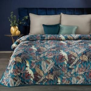 Kvalitná tyrkysová deka pokrytá potlačou exotických vtákov a kvetín 150 x 200 cm