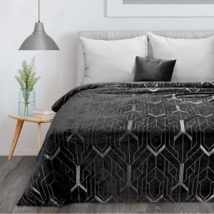 Luxusná čierna hrejivá deka so striebornou potlačou 150 x 200 cm