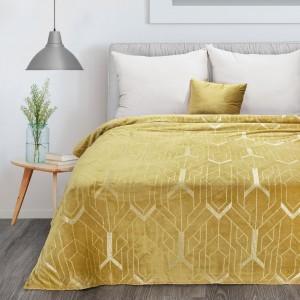 Medovo žltá deka s krásnou striebornou geometrickou potlačou 150 x 200 cm