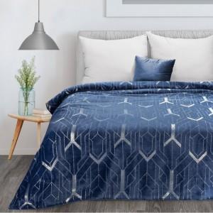 Luxusná modrá deka s trblietavou striebornou potlačou 150 x 200 cm