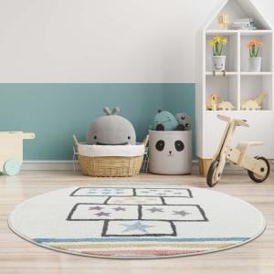 Krásny detský krémový okrúhky koberec