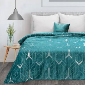 Kvalitná tyrkysová deka z mikrovlákna s krásnou striebornou potlačou 150 x 200 cm