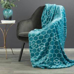 Kvalitná a hrubá tyrkysová deka so striebornou potlačou 150 x 200 cm