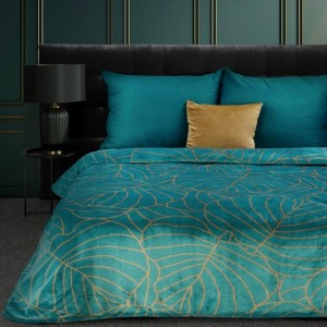 Krásna tyrkysová deka s medovou potlačou botanických listov 150 x 200 cm