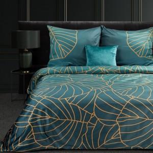 Kvalitné tyrkysovo zelené posteľné obliečky bavlnený satén s motívom botanických listov