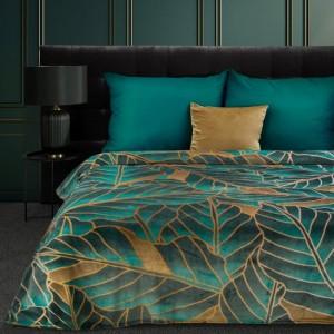 Luxusná tyrkysovo zlatá deka najvyššej kvality s motívom botanických listov 150 x 200 cm