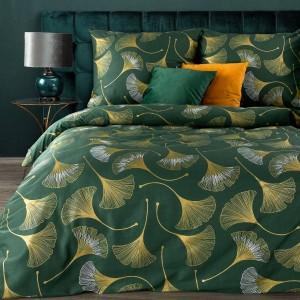 Krásne zelené posteľné obliečky bavlnený satén s potlačou lístka ginka