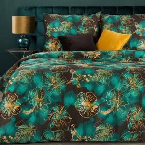 Zelené posteľné obliečky bavlnený satén s motívom kvetov