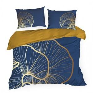 Luxusné modré posteľné obliečky so zlato béžovým motívom listov ginka