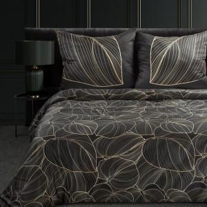 Luxusné čierne posteľné obliečky bavlnený satén so zlatými lístami lekna