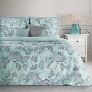 Krásne mentolové posteľné obliečky z kvalitného bavlneného saténu motív ginko