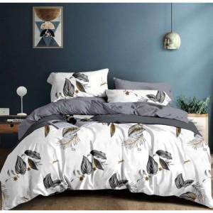 Šedo biele posteľné obliečky s motívom listov 4časti 160 x 200 cm SKLADOM