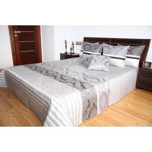 Prehoz na posteľ striebornej farby s prešívaným vzorom SKLADOM 240 x 240 cm