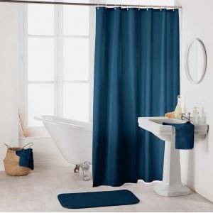 Jednofarebný modrý záves do sprchy so zavesením na kruhy 180 x 200 cm