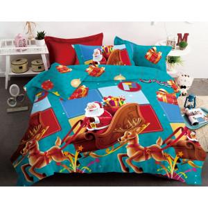 Krásne modro červené vianočné posteľné obliečky Santa Clausa