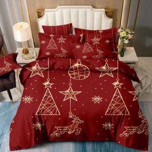 Očarujúce červené vianočné posteľné obliečky vianočné ozdoby