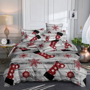 Nádherné sivé vianočné posteľné obliečky s motívom mikulášskych čiapiek