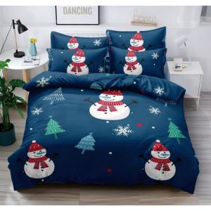Vianočné tmavo modré posteľné obliečky so snehuliakmi