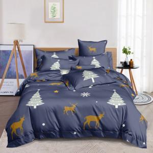 Krásne sivo modré posteľné obliečky s vianočnou tématikou stromčeka a sobov