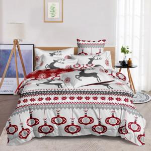 Nádherné bielo červené posteľné obliečky na Vianoce s motívom sobov