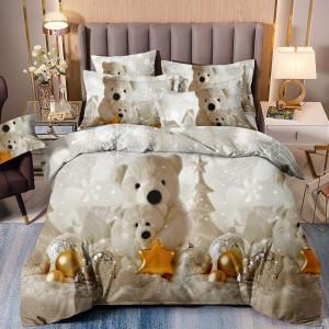 Kúzelné béžovo krémové posteľné obliečky s motívom vianoc