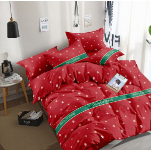 Kvalitné červené vianočné posteľné obliečky s vločkami a nápisom Merry Christmas
