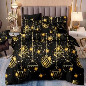 Luxusné čierné zlaté posteľné obliečky so zlatými ozdobami