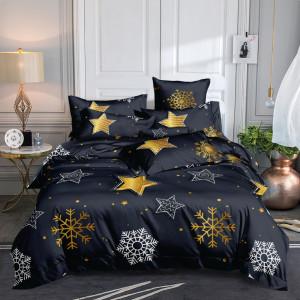 Očarujúce tmavo sivé vianočné posteľné obliečky so snehovými vločkami