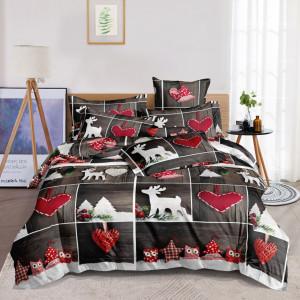Vianočné hnedo červené posteľné obliečky s motívom sobov a srdiečok