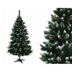 Čarovná vianočná borovica zdobená šiškami 220 cm s jemne zasneženými koncami