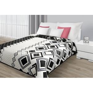 Biely prehoz na posteľ s čiernymi štvorčekmi