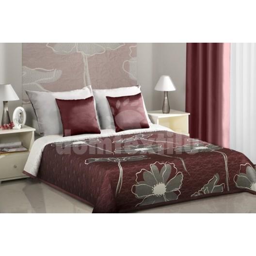 Obojstranné prehozy na posteľ bordové so sivými kvetmi