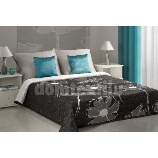 Prehoz na posteľ čiernej farby so sivým motívom kvetu