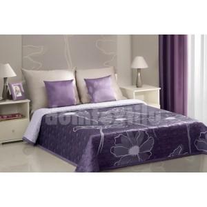Prehozy na postele fialovej farby vzor kvet