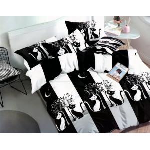 Krásne bielo čierne detské posteľné obliečky s mačkami