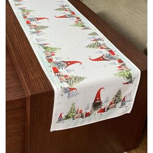 Smotanovo biely sviatočný behúň na stôl s tématikou vianoc