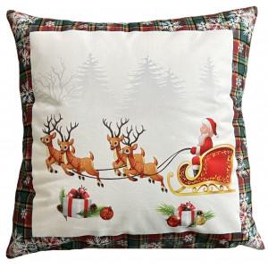 Krásny vianočný vankúš s mikulášom a sobmi lemovaný károm