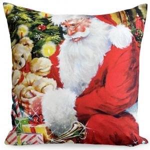 Ozdobná velúrová dekoračná obliečka na vankúš so Santa Clausom