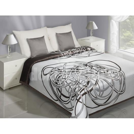 Biely prehoz na posteľ s motívom