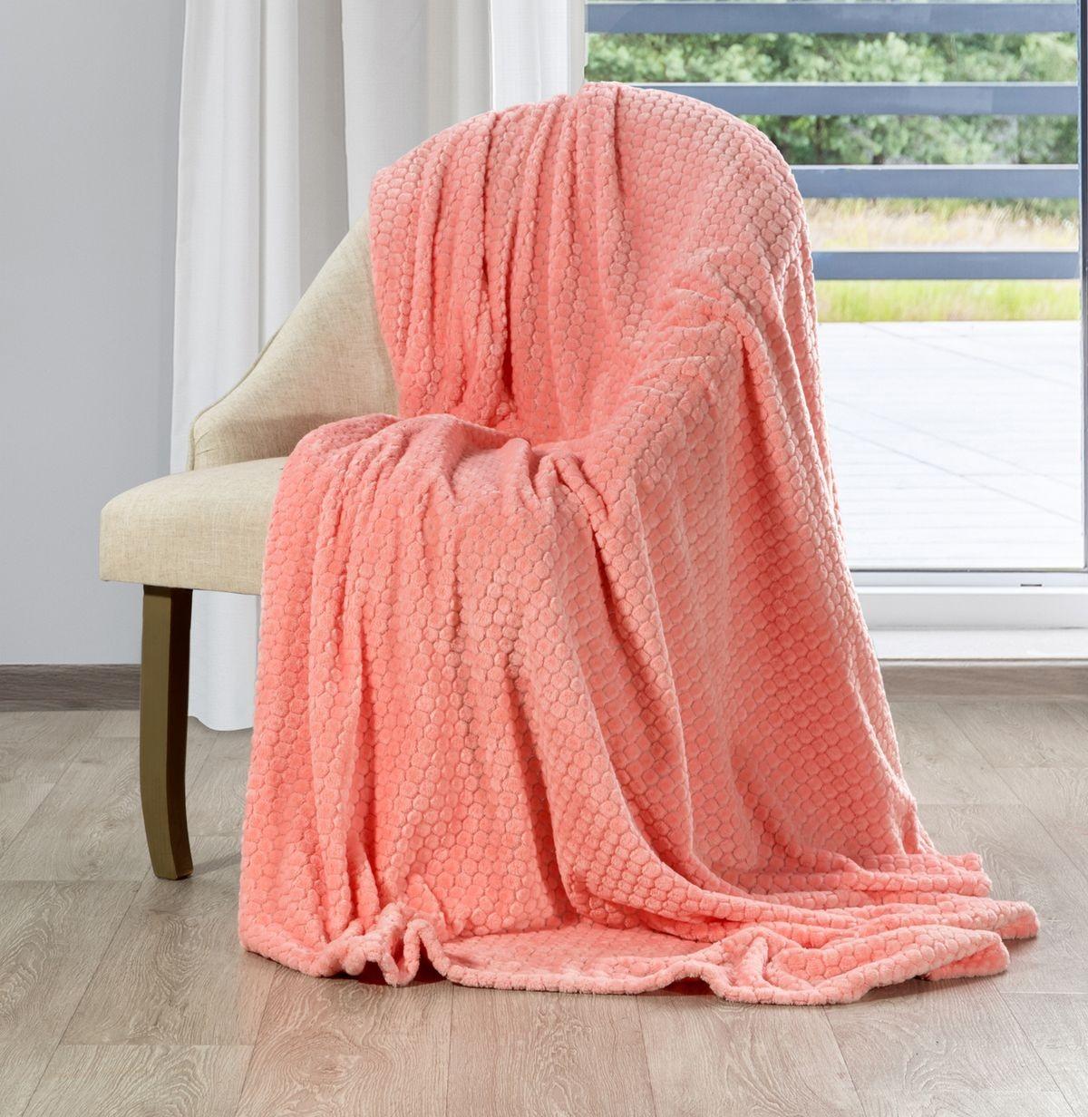 Krásna korálovo ružová deka s decentným reliéfnym vzorom 70 x 160 cm Šírka: 70 cm | Dĺžka: 160 cm
