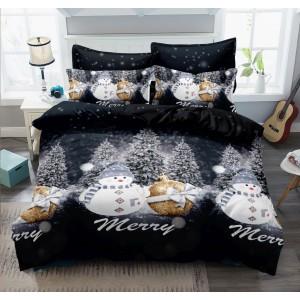 Zlato čierne posteľné obleičky s motívom snehuliakov