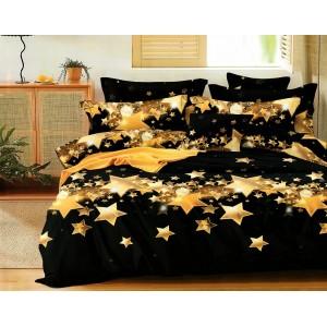 Fenomenálne čierne posteľné obliečky s potlačou rozžiarených hviezd