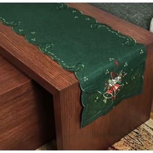 Vianočný zelený behúň na stôl s vianočnými zvončekmi