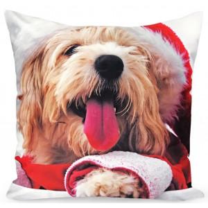 Vianočná zamatová obliečka na vankúš so psíkom