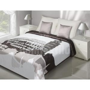 Biely prehoz na posteľ s motívom svetových pamiatok