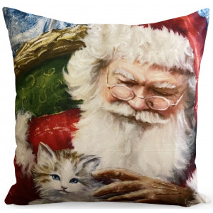 Dekoratívna vianočná obliečka na vankúš so Santa Clausom