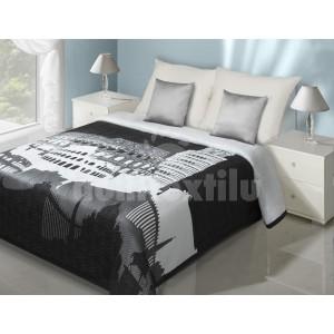 Čierny prehoz na posteľ s pamiatkami